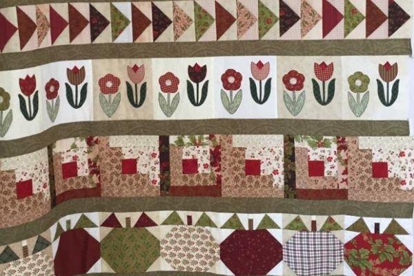 Quilt made in beginners patchwork class